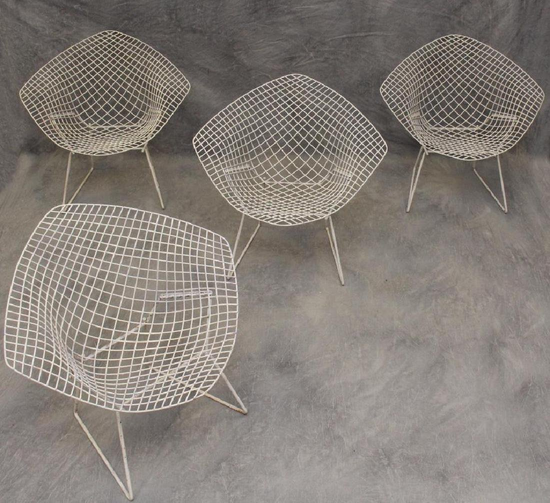 Set of (4) Harry Bertoia Diamond Chairs