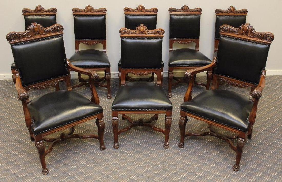 Set of (8) Ornately Carved Dining Chairs