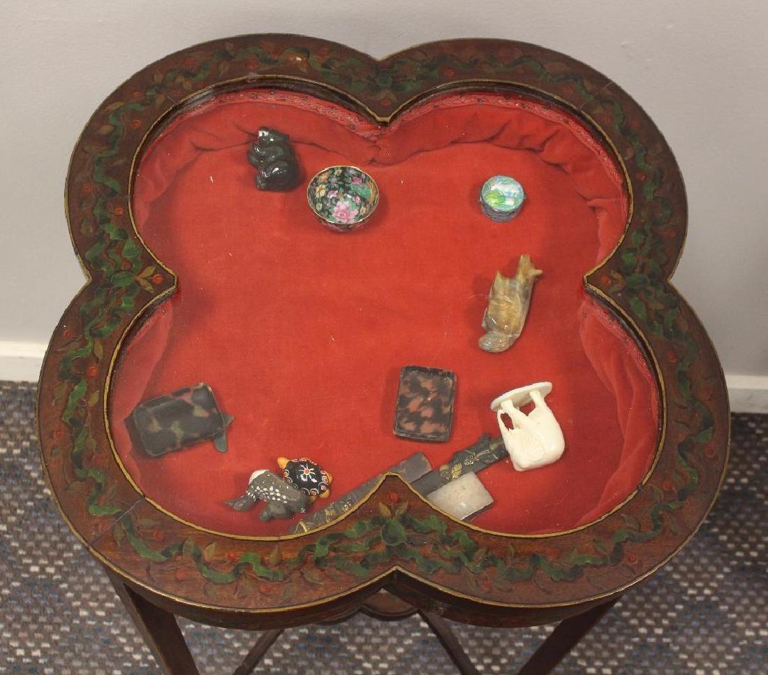 Paint Decorated Table Vitrine - 3