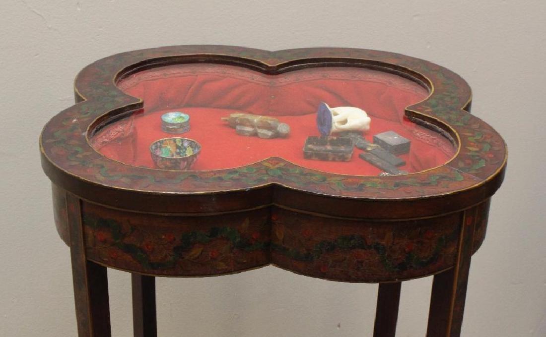 Paint Decorated Table Vitrine - 4