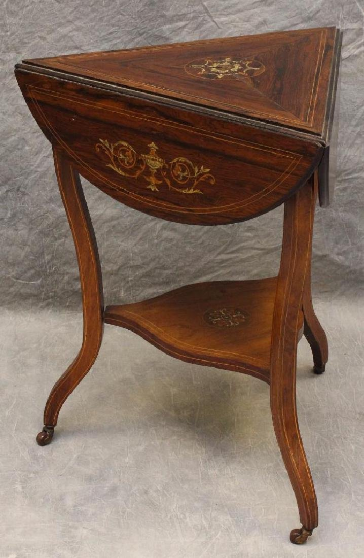 Rosewood Marquetry Triangular Oval Top Table