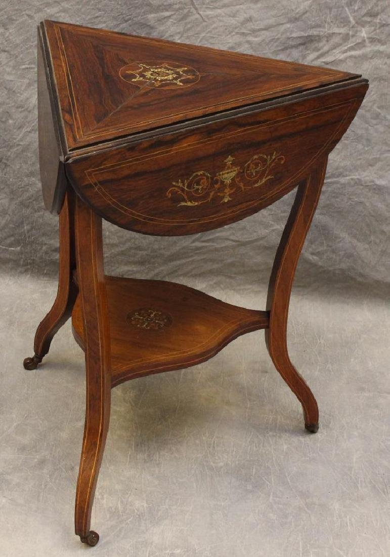 Rosewood Marquetry Triangular Oval Top Table - 2