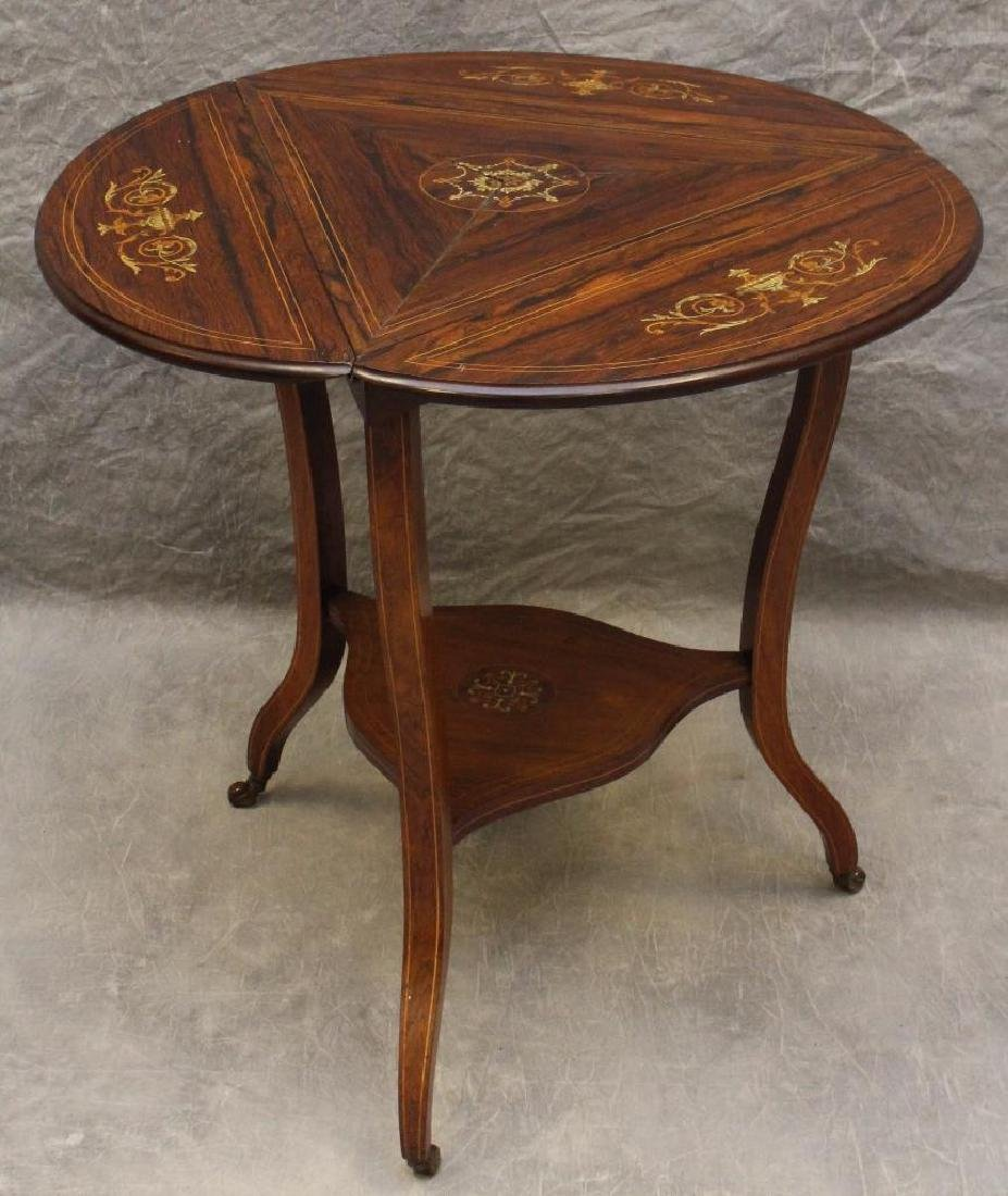 Rosewood Marquetry Triangular Oval Top Table - 3