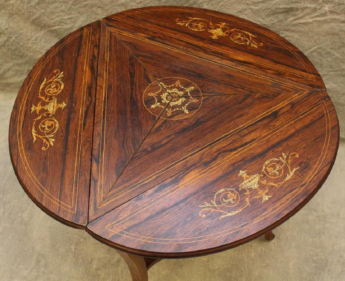 Rosewood Marquetry Triangular Oval Top Table - 4