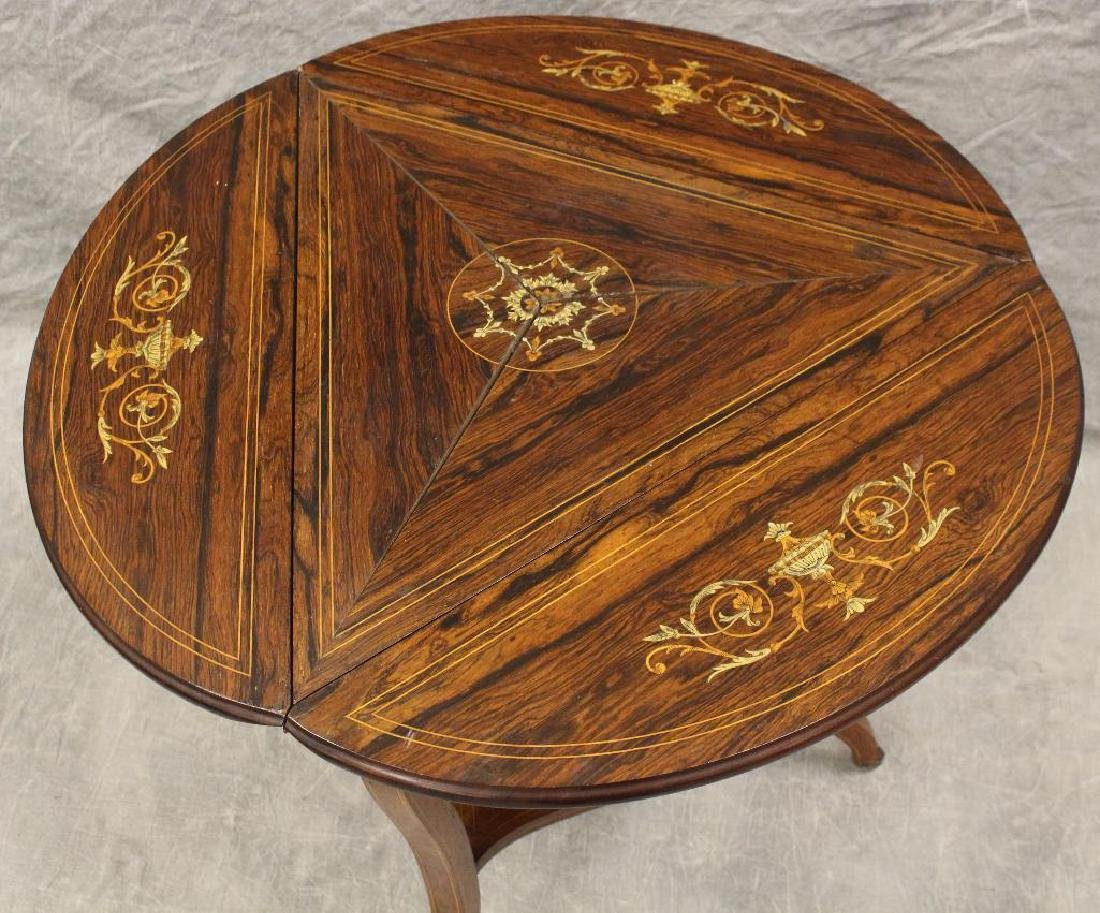 Rosewood Marquetry Triangular Oval Top Table - 5