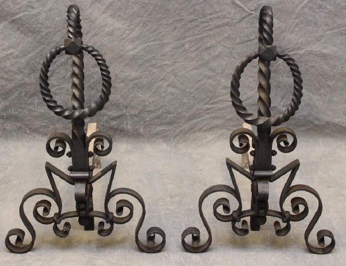 (2) Pair of Cast Iron Andirons