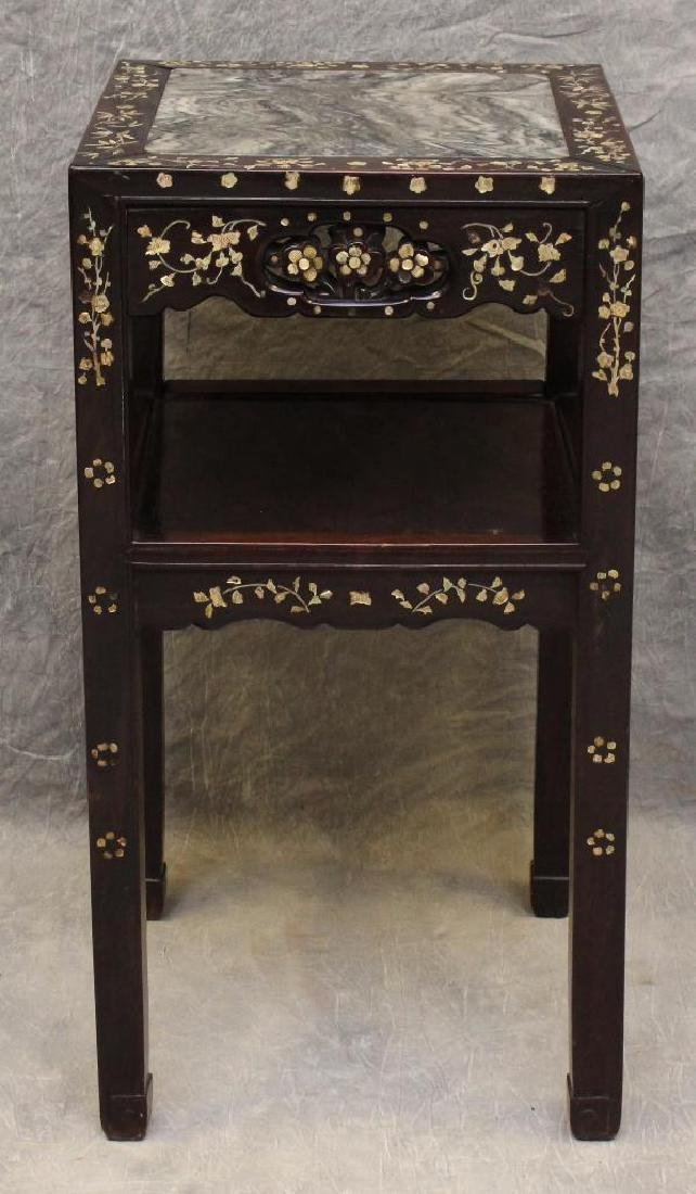 Rosewood Mother-of- Pearl Side Table - 2