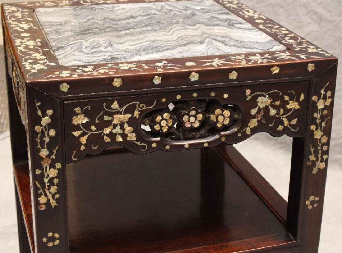 Rosewood Mother-of- Pearl Side Table - 5