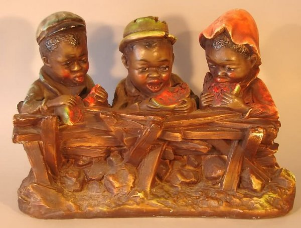 4002: Black Americana - Chalkware Children Statue