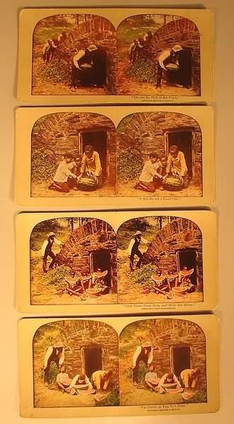 4028: Black Americana - 4 Watermelon Steroscopic Cards