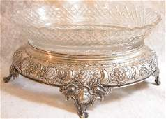 549: Silver and Cut Glass Footed Bowl.