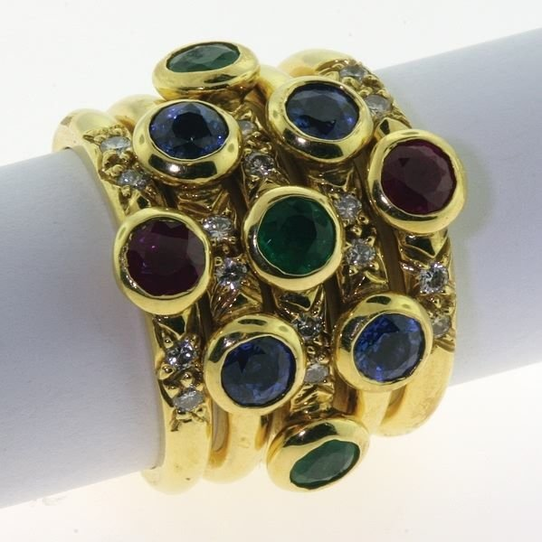 2021: Ruby, emerald, sapphire and diamond rings.