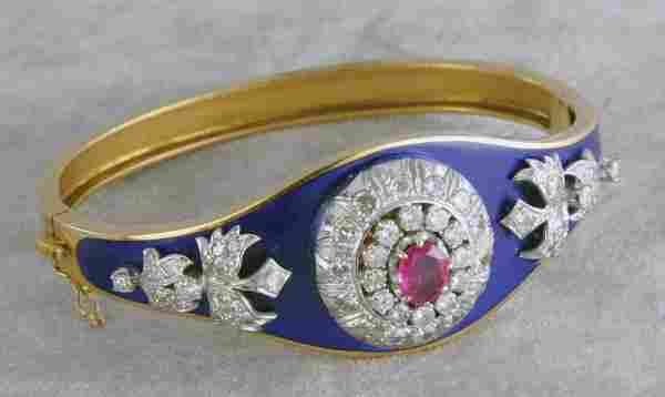 2248: Diamond, ruby and enamel bracelet.