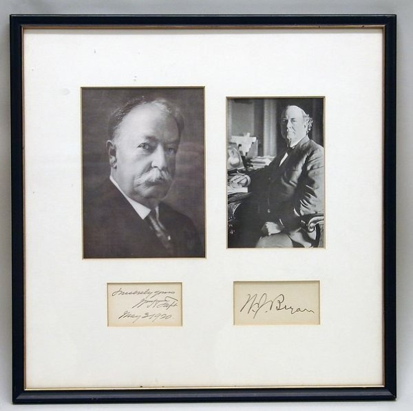 3342: Autographs of William Taft and W. J. Bryan