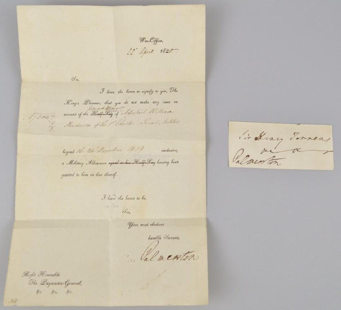 Autographs (2) of Lord Palmerston
