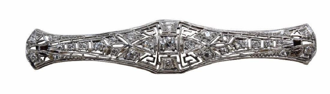Platinum Filigree Brooch Bar Pin with Diamonds, .50CTW