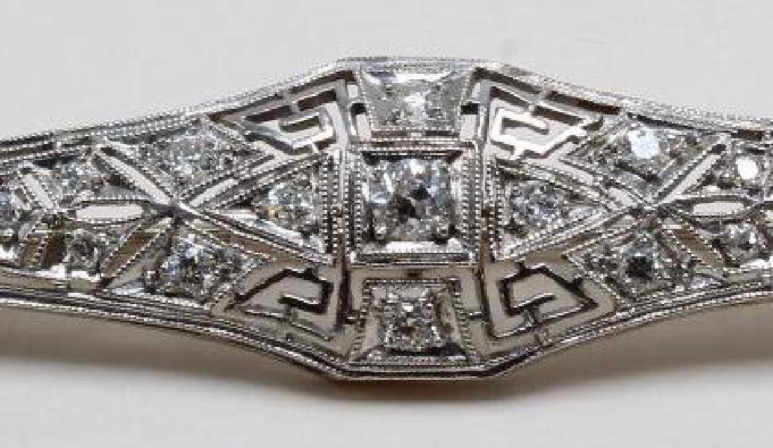 Platinum Filigree Brooch Bar Pin with Diamonds, .50CTW - 2