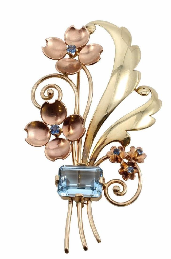 Tiffany & Co. 14K Yellow and Rose Gold Brooch with