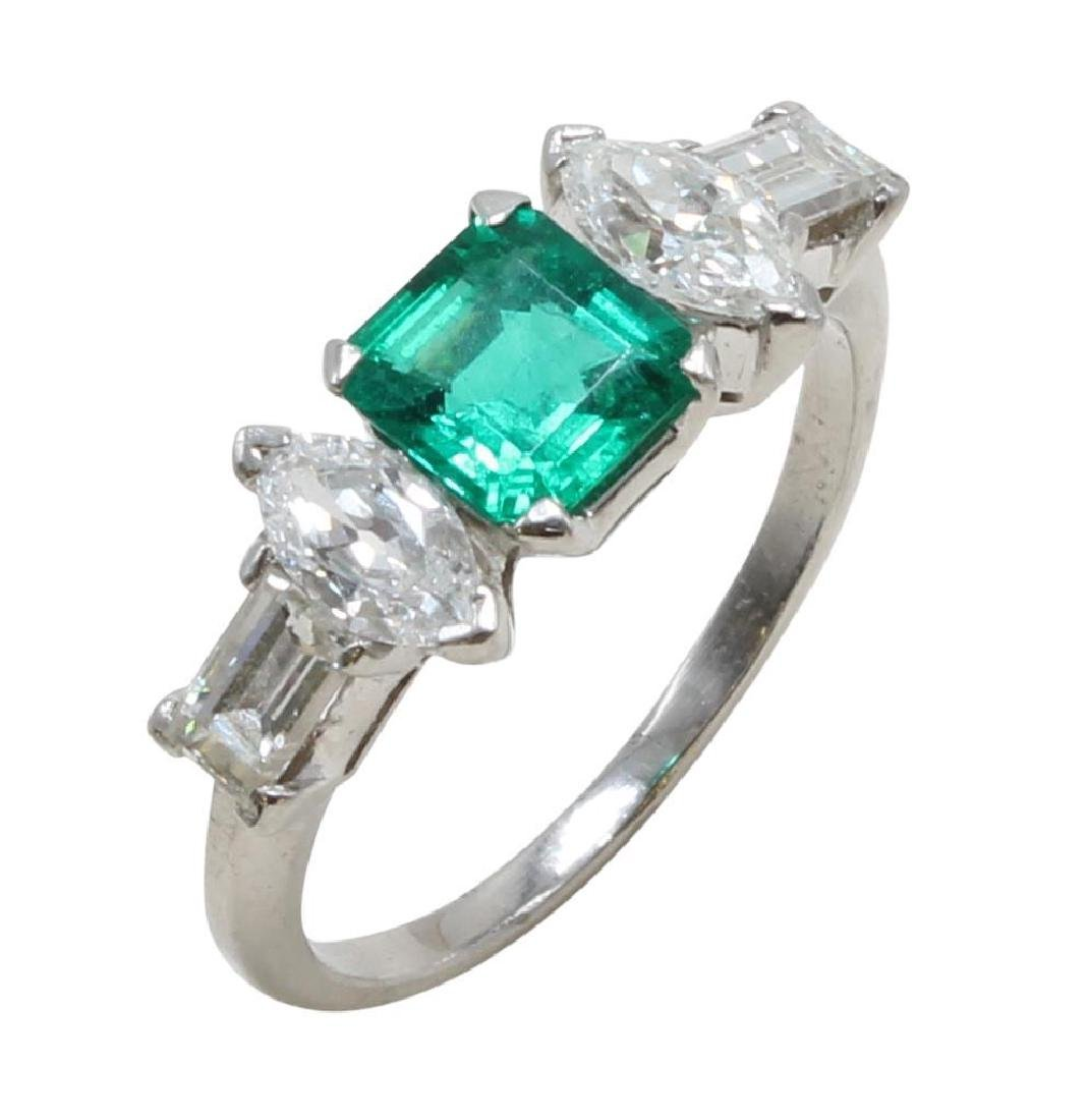 Platinum Ring with Emerald and Diamonds