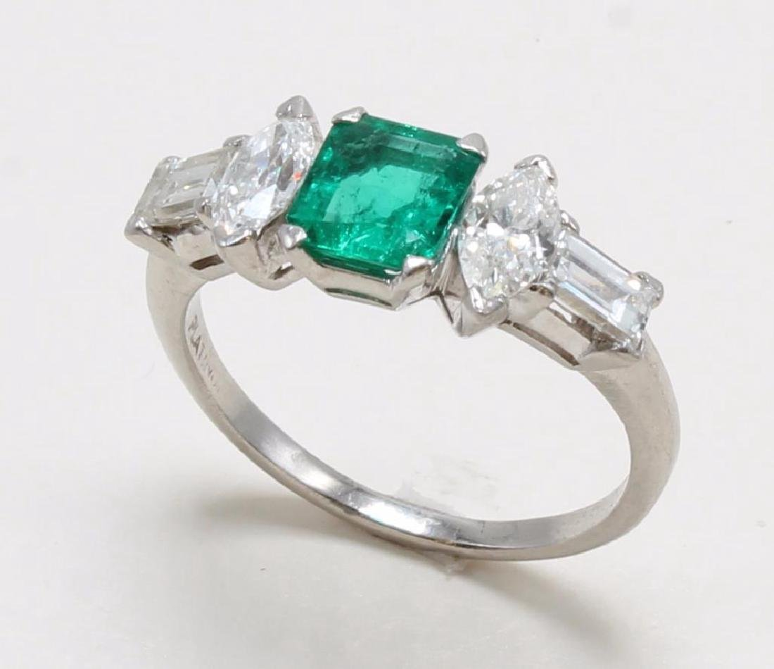 Platinum Ring with Emerald and Diamonds - 2