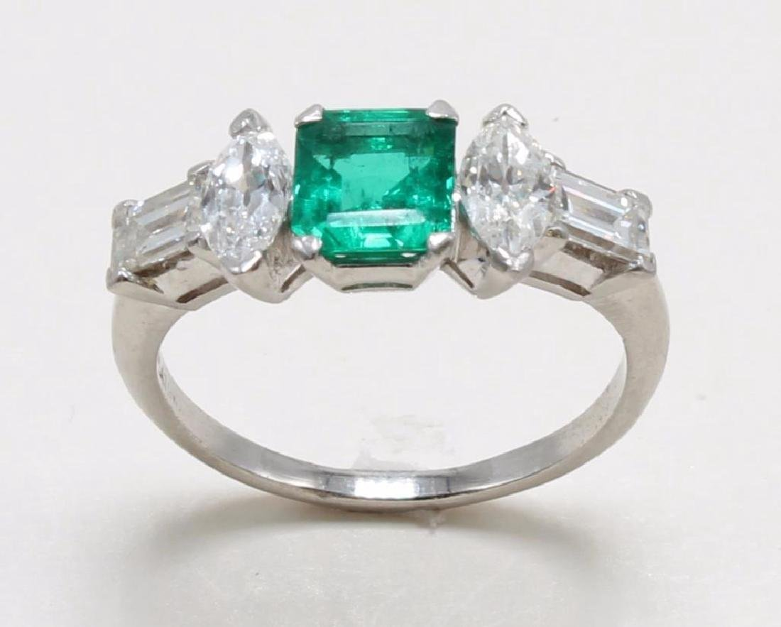 Platinum Ring with Emerald and Diamonds - 3