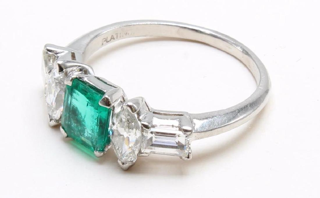Platinum Ring with Emerald and Diamonds - 4