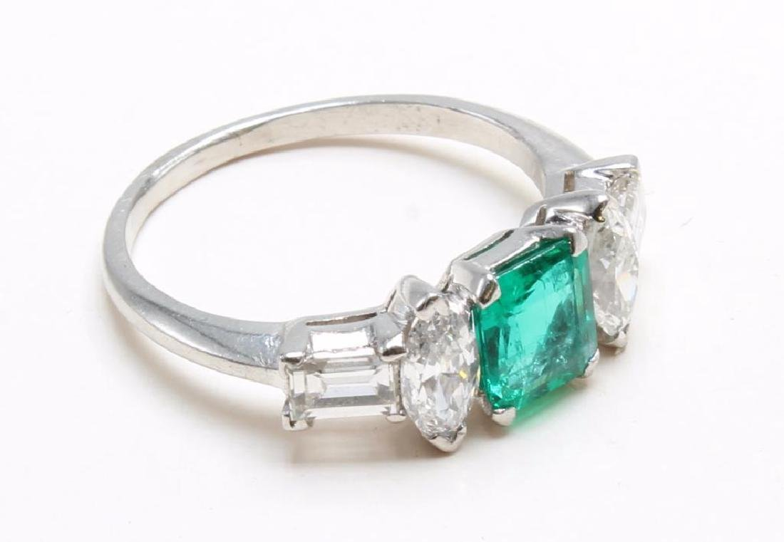 Platinum Ring with Emerald and Diamonds - 6
