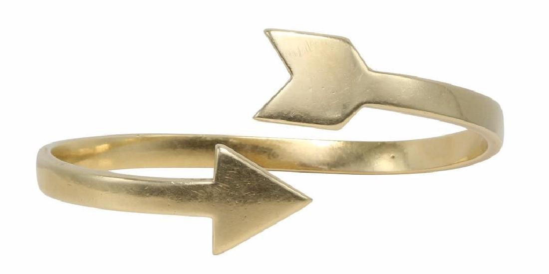 Cartier 18K Yellow Gold Arrow Cuff Bangle Crossover