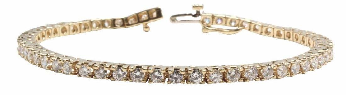 14K Yellow Gold Tennis Bracelet with Diamonds. 2.75CTS - 3