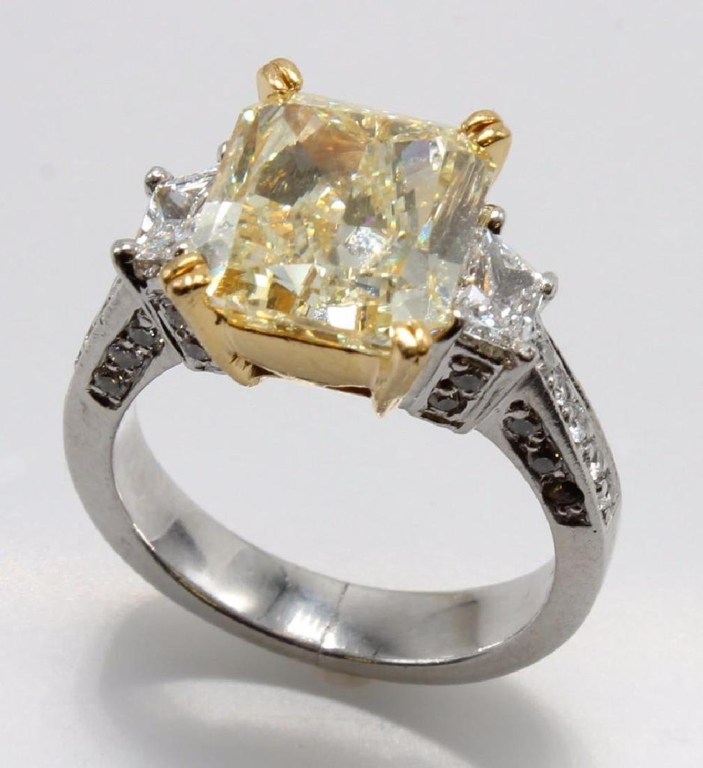 6.09CT Natural Fancy Yellow Diamond Ring in Platinum
