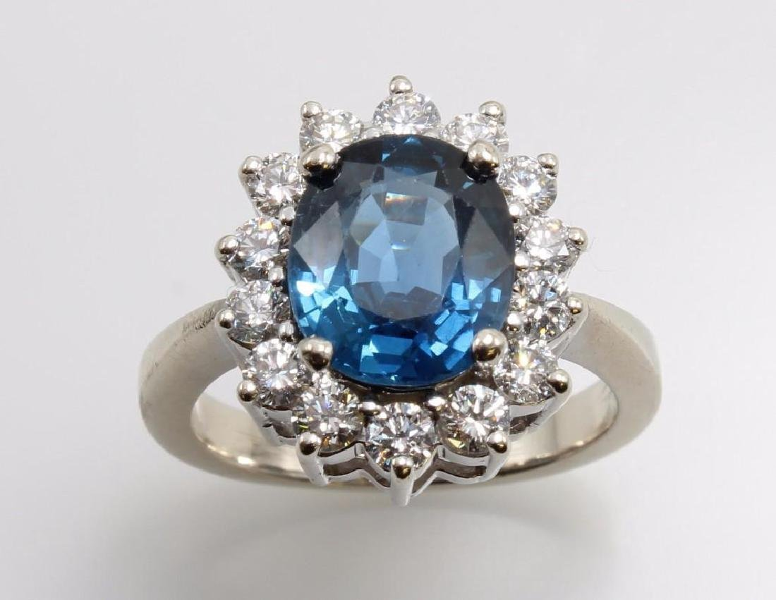 Blue Sapphire and Diamond 14K White Gold Ring