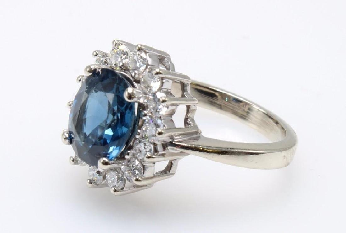 Blue Sapphire and Diamond 14K White Gold Ring - 2