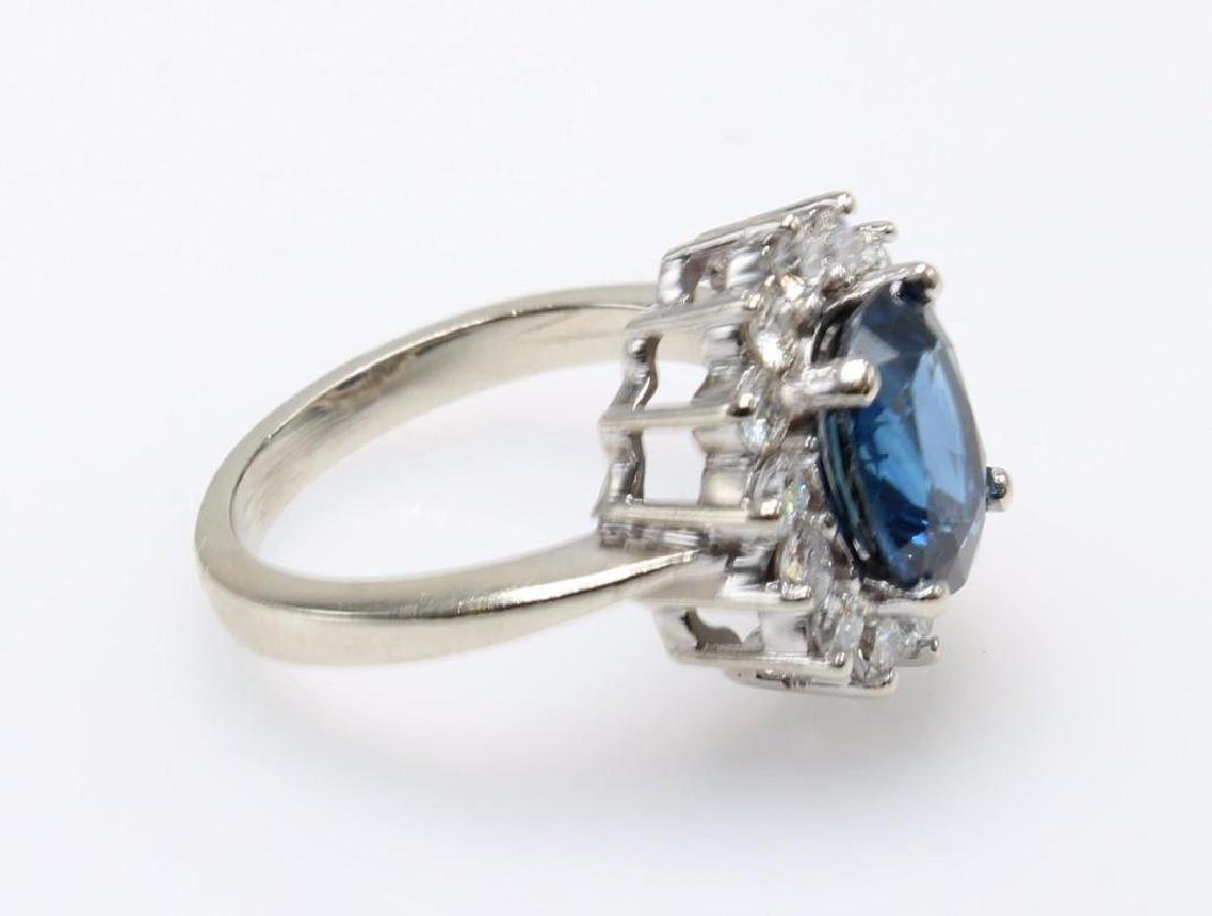 Blue Sapphire and Diamond 14K White Gold Ring - 3