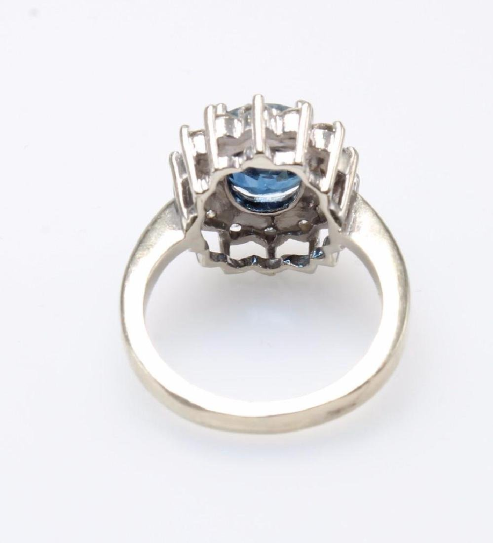 Blue Sapphire and Diamond 14K White Gold Ring - 4