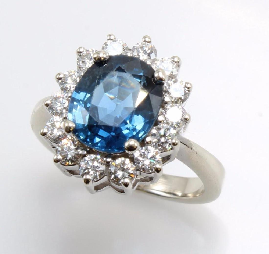 Blue Sapphire and Diamond 14K White Gold Ring - 5