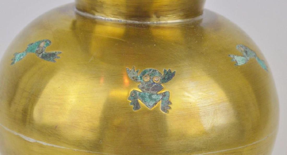 Los Castillo Malachite and Brass Frog Pitcher - 3