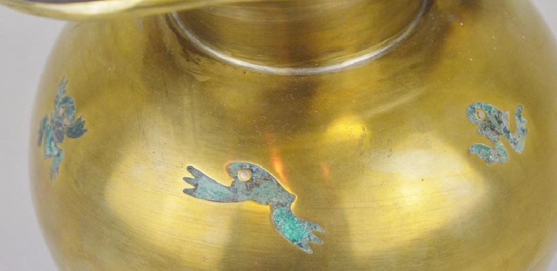 Los Castillo Malachite and Brass Frog Pitcher - 5