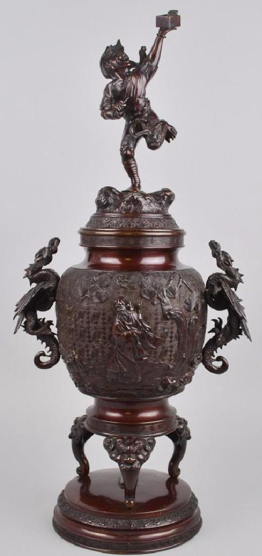 Japanese Bronze Meiji Dragon Censer