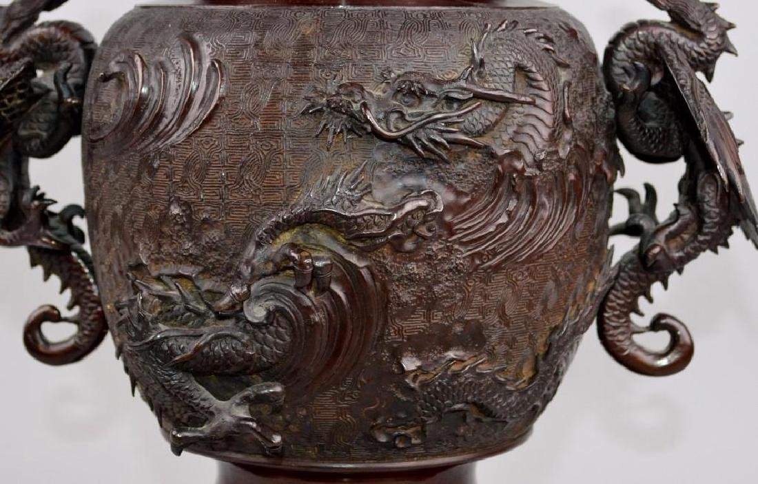 Japanese Bronze Meiji Dragon Censer - 6
