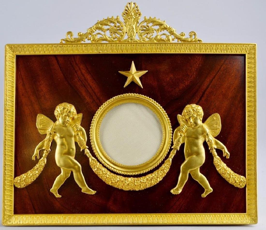 French Empire Neoclassical Moire Ormolu Frame