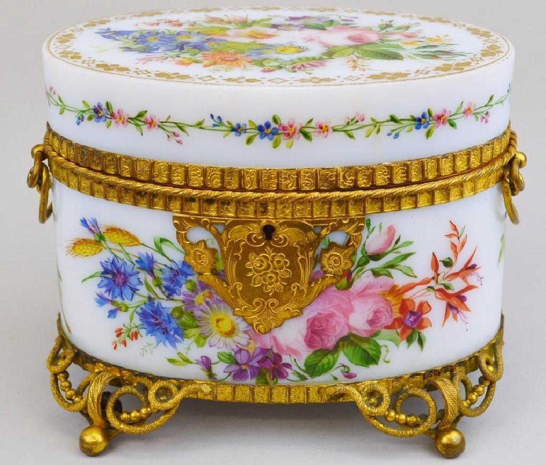 French White Opaline Ormolu Perfume Casket