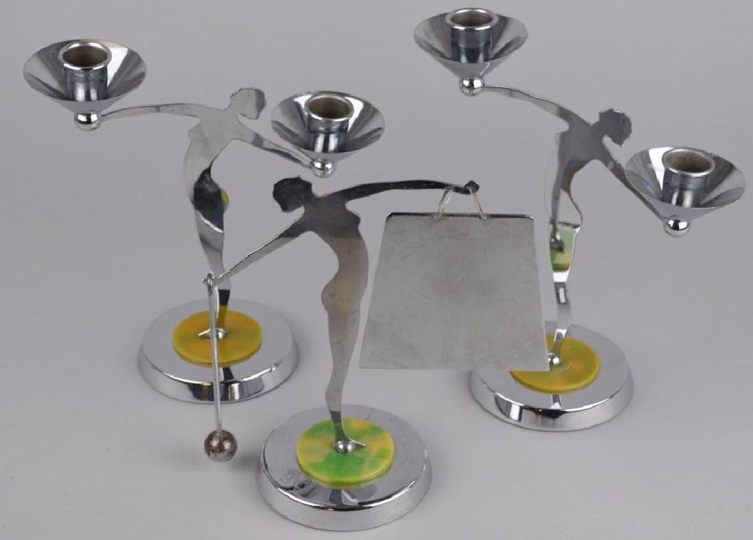 Art Deco Figural Candelabra and Dinner Bell