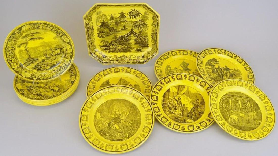 Collection of Canary Yellow Creil Plates