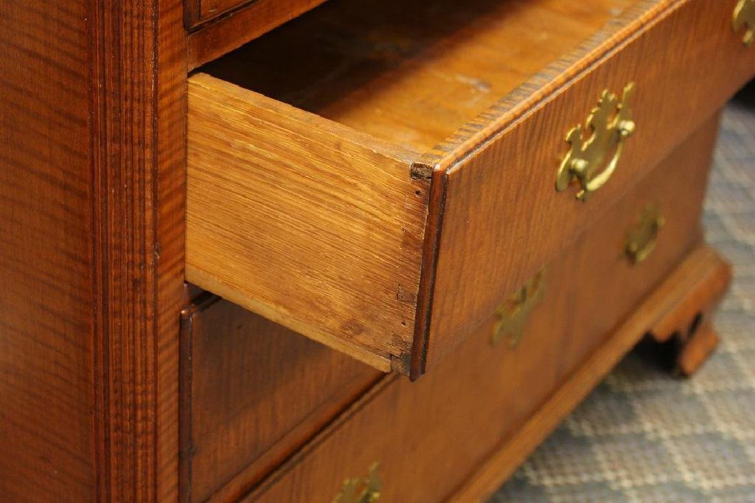 Chippendale Tiger Maple Chest of Drawers - 4
