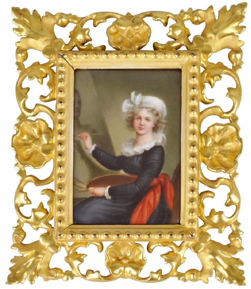 19th c. Miniature Portrait, Female Artist at Her Easel