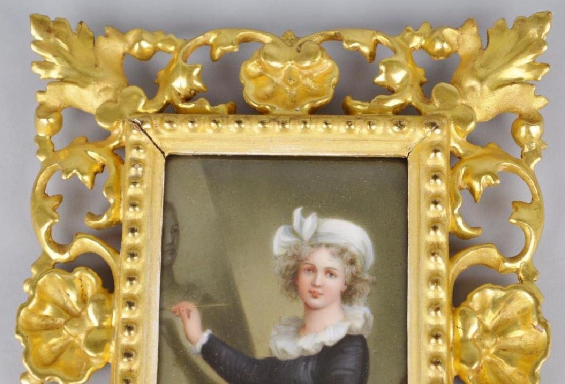 19th c. Miniature Portrait, Female Artist at Her Easel - 2
