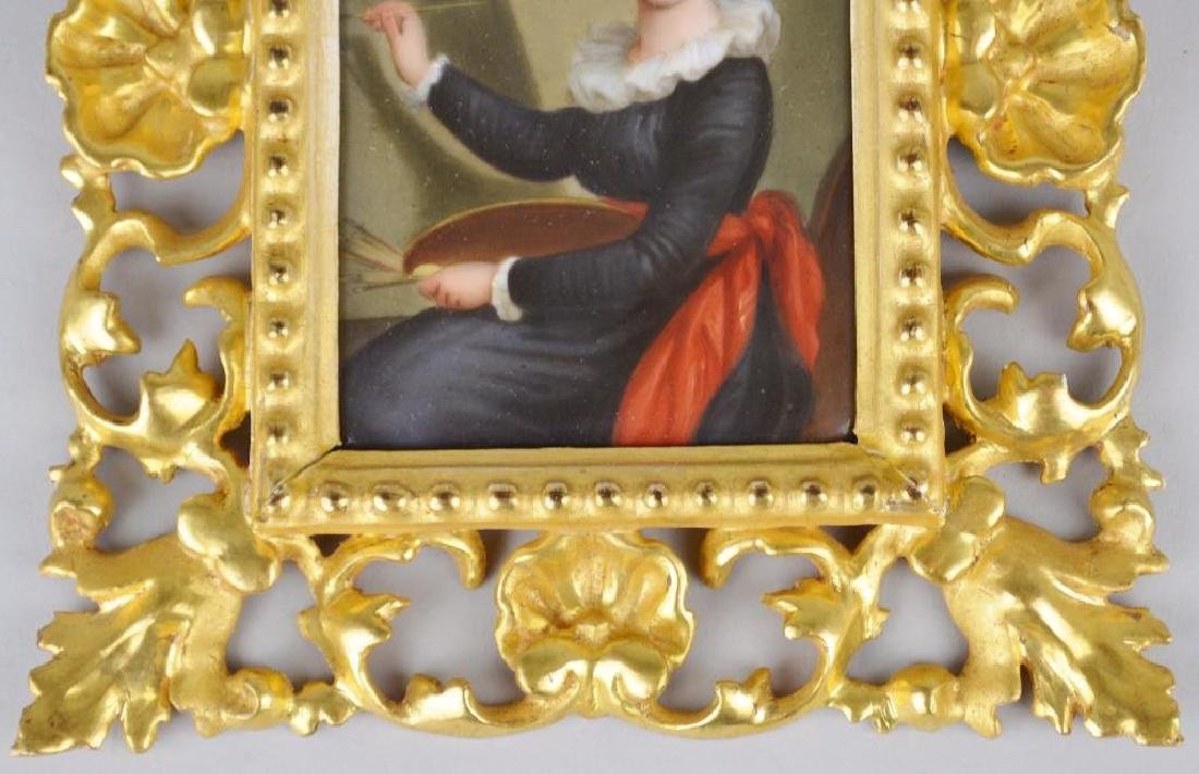19th c. Miniature Portrait, Female Artist at Her Easel - 3