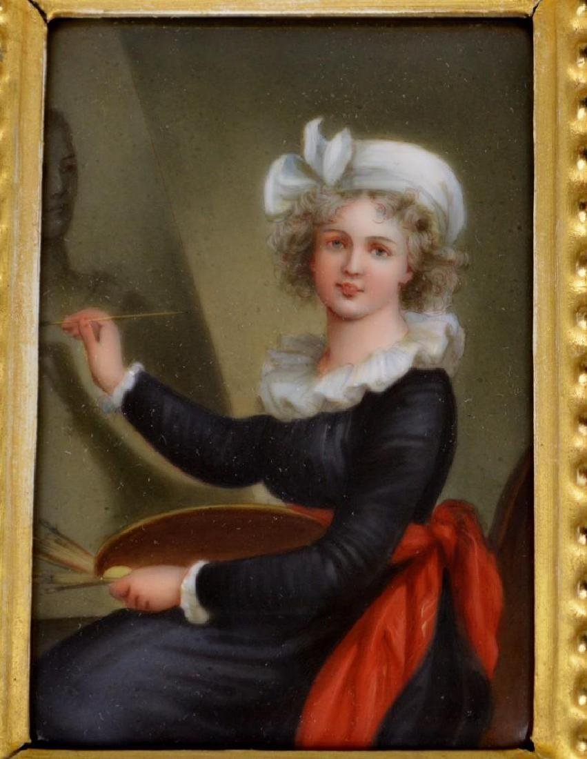 19th c. Miniature Portrait, Female Artist at Her Easel - 4