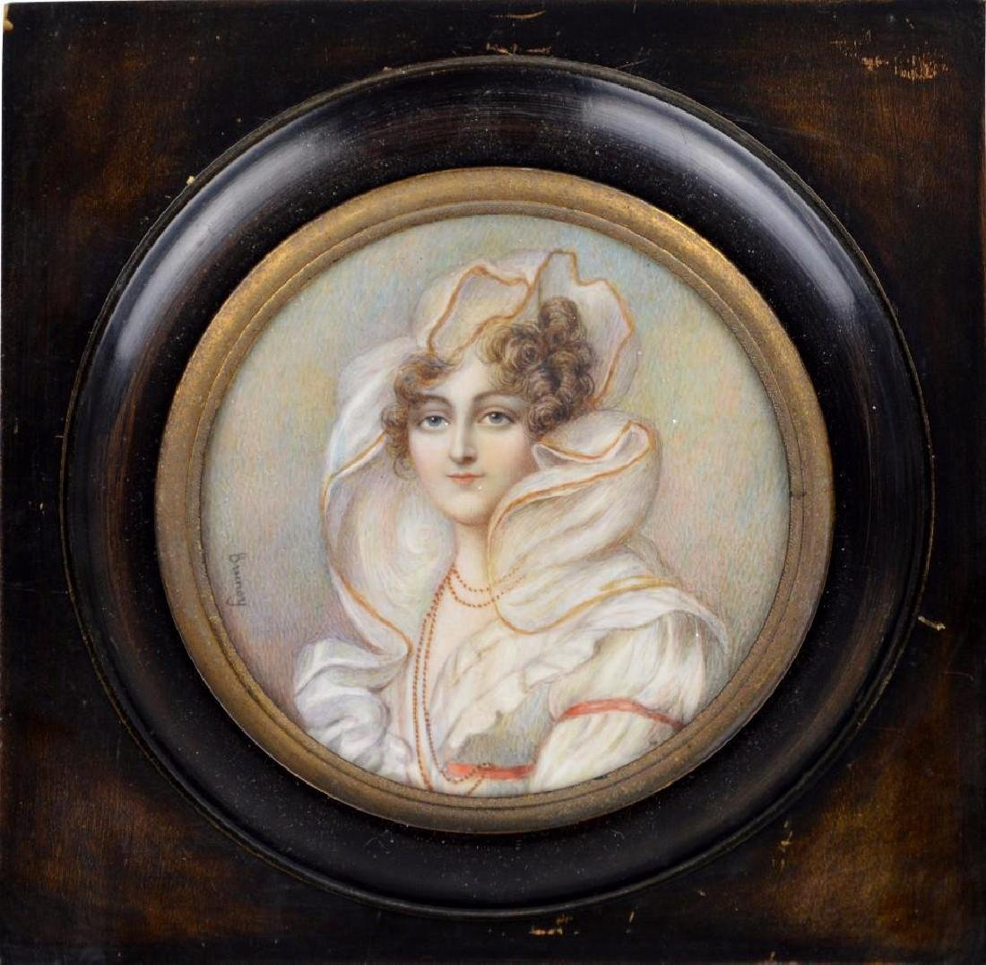"19th c. Miniature Portrait, ""Countess de Beauchamp"""
