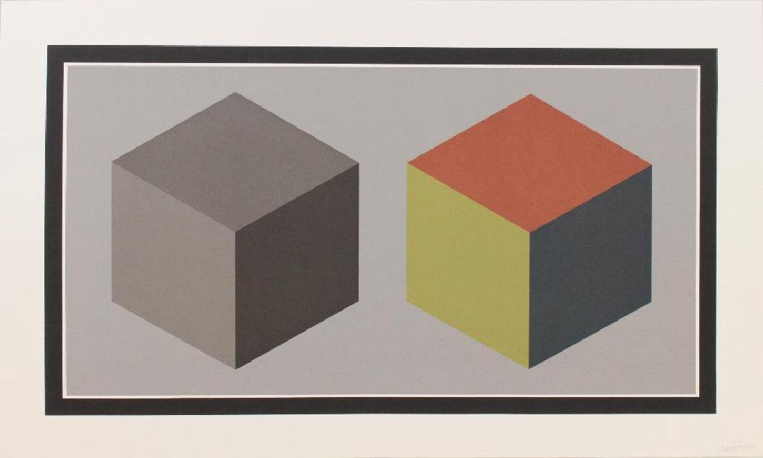 "Sol Lewitt (1928-2007, American) ""Double Cubes in Grays"